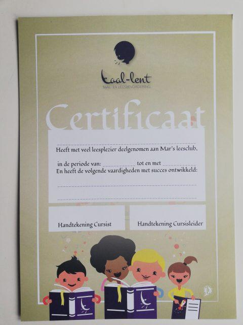 Mar`s Leesclub Certificaat